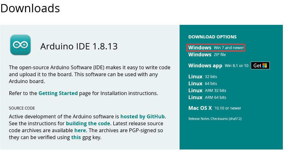 Arduino IDE telechargement