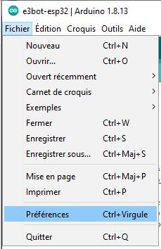capture Arduino fichier preferences